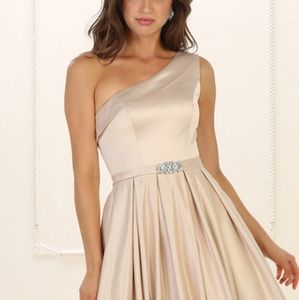 One shouldered formal prom evening bridesmaid gown